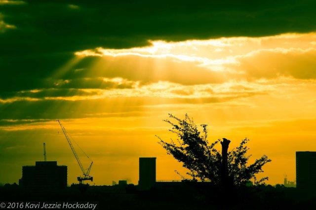 The sun burst through the sky